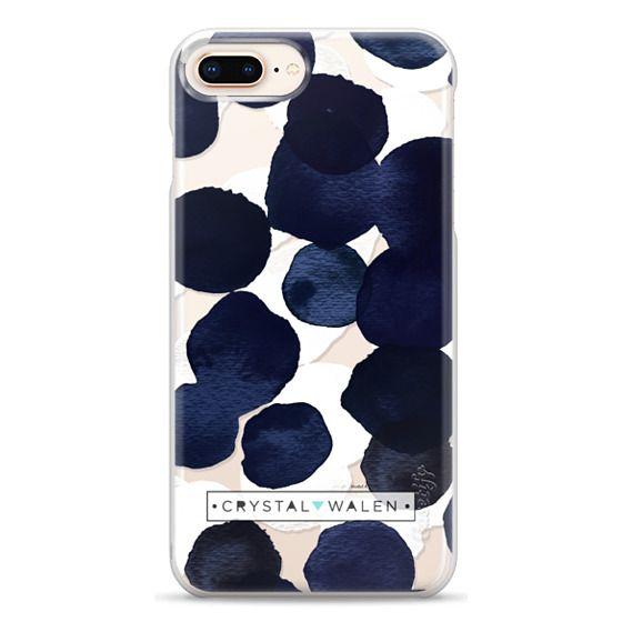 iPhone 8 Plus Cases - Indigo White Dots Clear