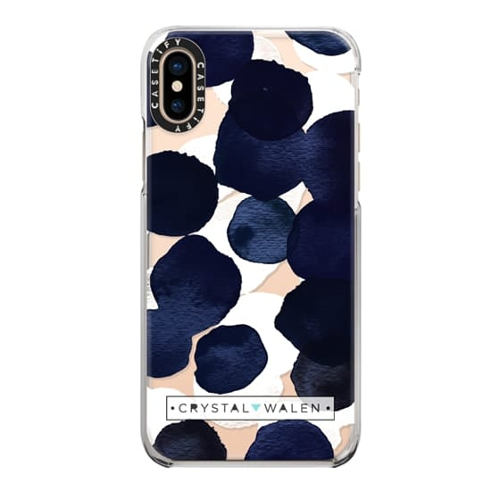 iPhone XS Cases - Indigo White Dots Clear