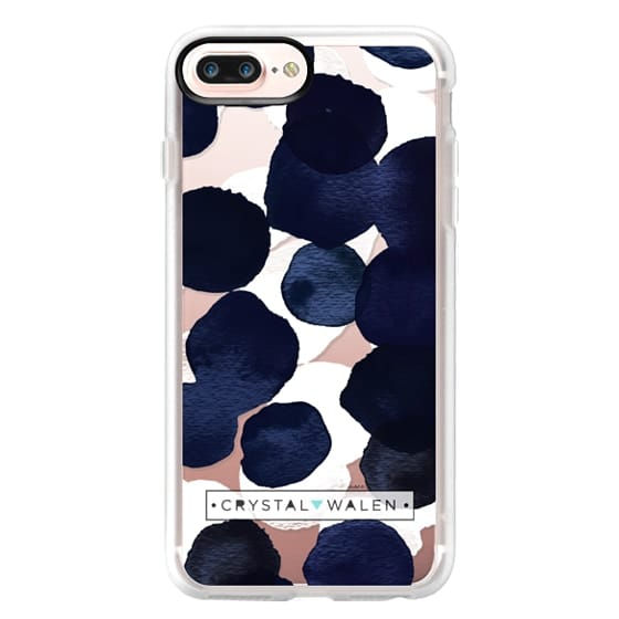 iPhone 7 Plus Cases - Indigo White Dots Clear