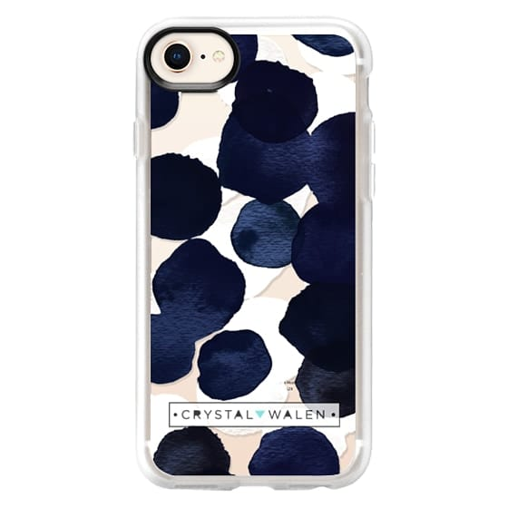 iPhone 8 Cases - Indigo White Dots Clear