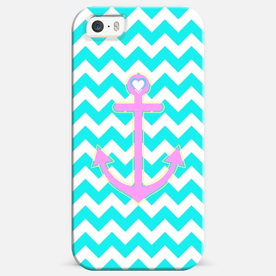 Turquoise Chevron Summer Love Anchor -