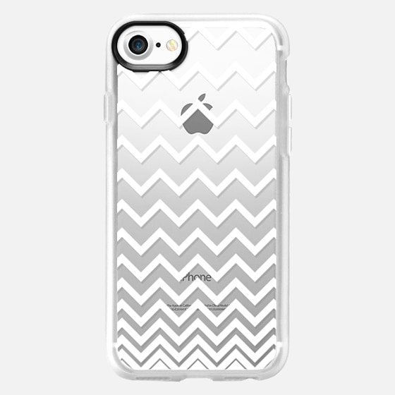 White Ombre Chevron Transparent  - Wallet Case