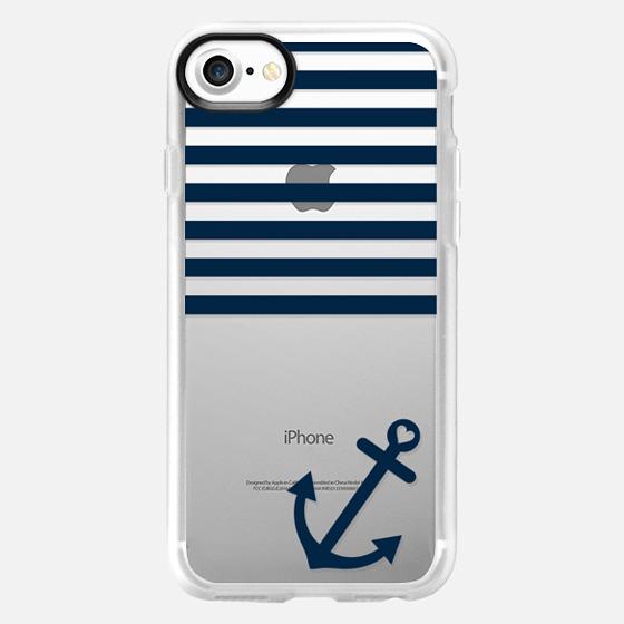 Navy Blue Nautical Transparent  - Wallet Case