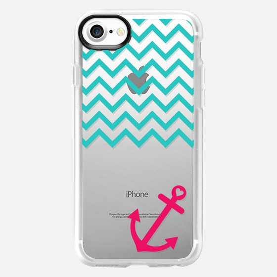 Teal and Hot Pink Chevron Nautical Transparent - Wallet Case