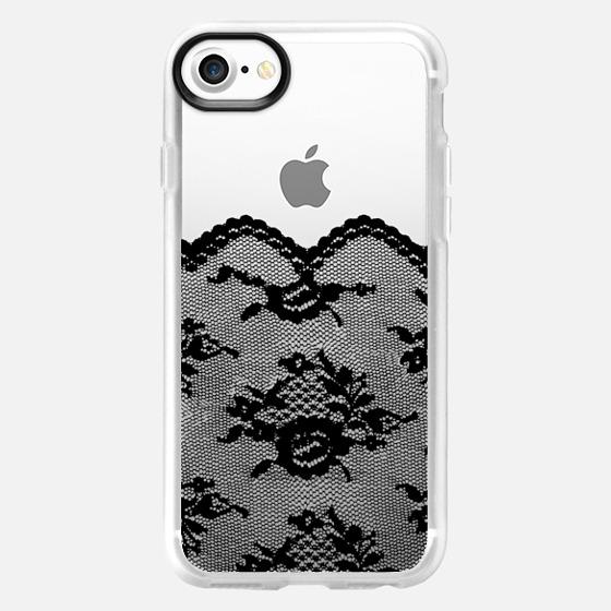 Black Romantic Lace Transparent  - Wallet Case