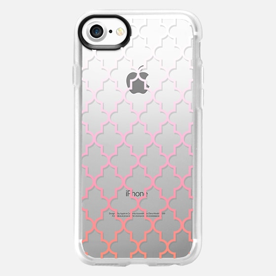 Coral and Pink Ombre Quatrefoil Transparent  - Wallet Case