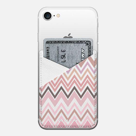 Nude Chevron Transparent - Saffiano Leather Phone Wallet