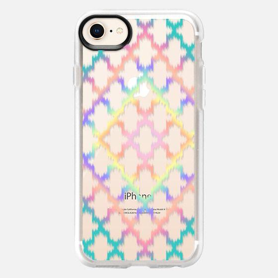 Diamond Rainbow Ikat Quatrefoil - Snap Case