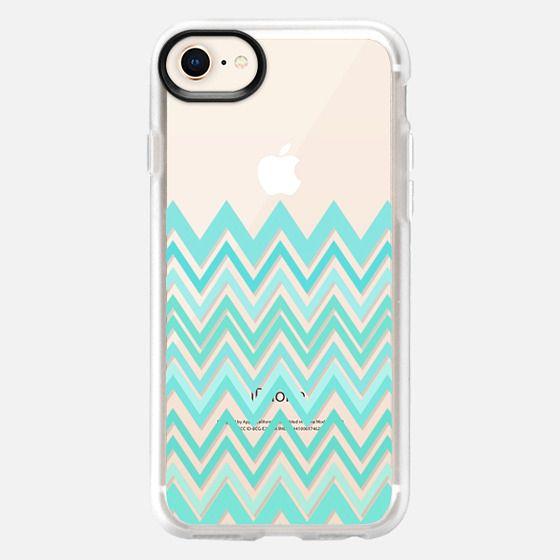Mint Aqua Chevron Transparent - Snap Case