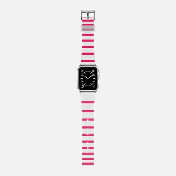 Pink Ombre Stripes White -