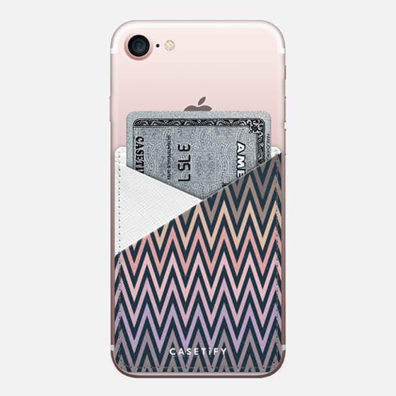 Neutral Palette Chevron - Saffiano Leather Phone Wallet