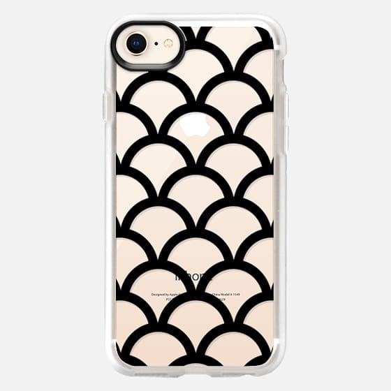 Black Scallop Pattern Transparent  - Snap Case