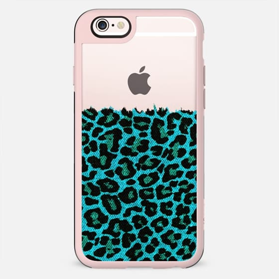 Turquoise Faux Denim Leopard Transparent  - New Standard Case