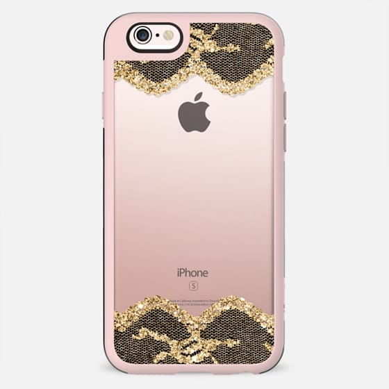 Double Faux Gold and Black Romantic Lace