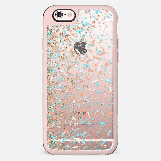 Peach Turquoise and White Confetti Blast  - New Standard Case