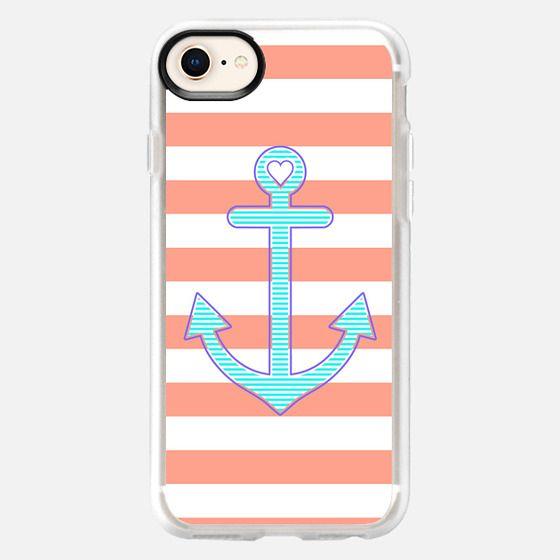 Coral Stripes Summer Love Anchor - Snap Case