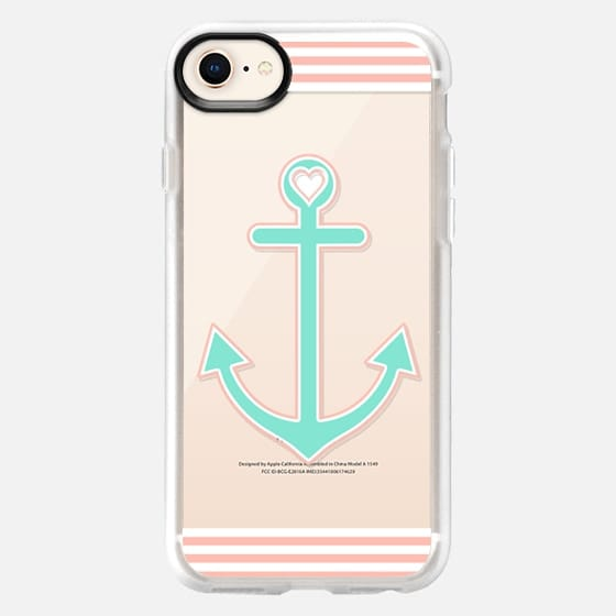 Peach and Mint Nautical Love Transparent  - Snap Case