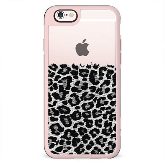 Black and White Faux Denim Leopard Transparent