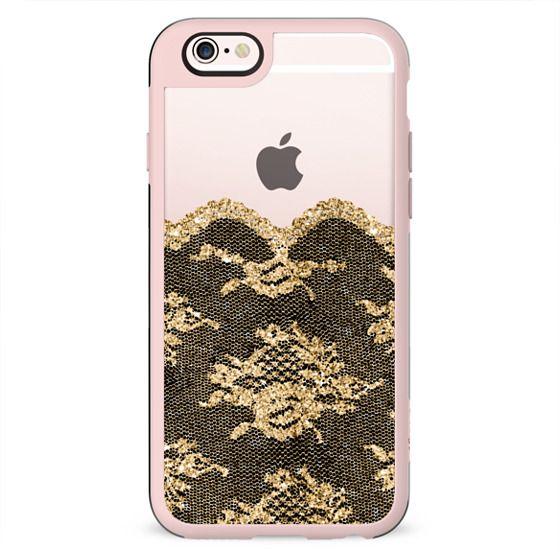 Faux Gold and Black Romantic Lace