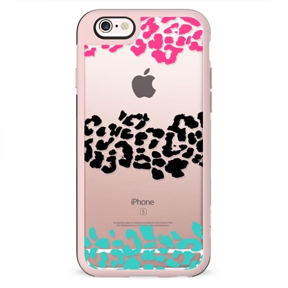 Pink Black Teal Wild Leopard Transparent