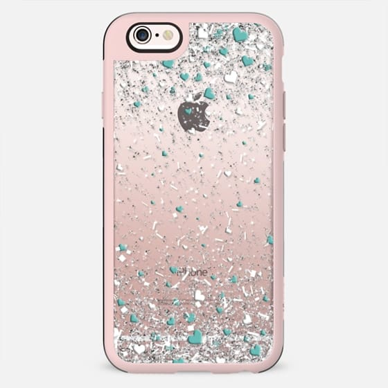 Silver Teal and White Love Confetti Explosion  - New Standard Case