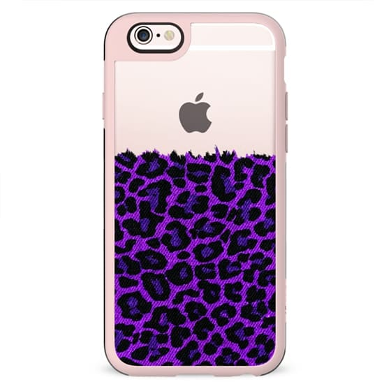 Purple Faux Denim Leopard Transparent