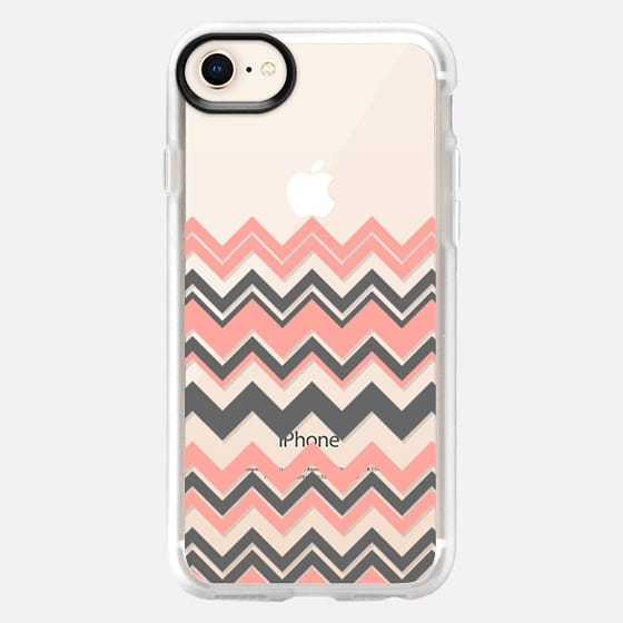 Coral Gray Chevron Transparent  - Snap Case