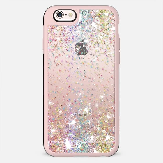 White Butterflies and Colorful Sparkles Burst