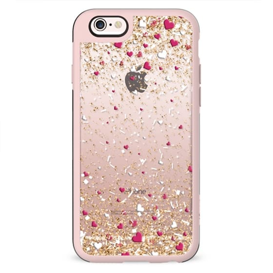 Gold Pink and White Love Confetti Explosion
