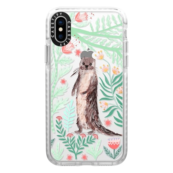 iPhone X Cases - Floral Otter by Papio Press