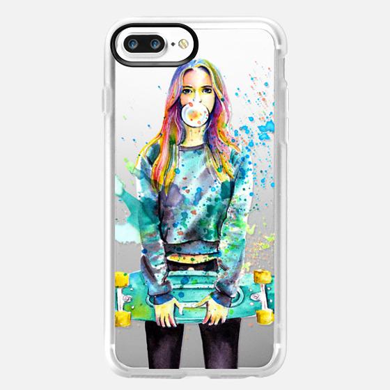 Crazy colors- Watercolor skateboard girl -transparent- -
