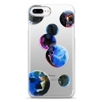 Snap iPhone 7 Plus Case - Watercolor space planets. Transparent