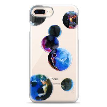 Snap iPhone 8 Plus Case - Watercolor space planets. Transparent