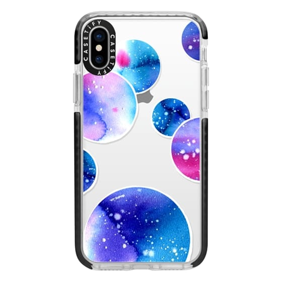 iPhone X Cases - Watercolor space planets 3. Transparent.