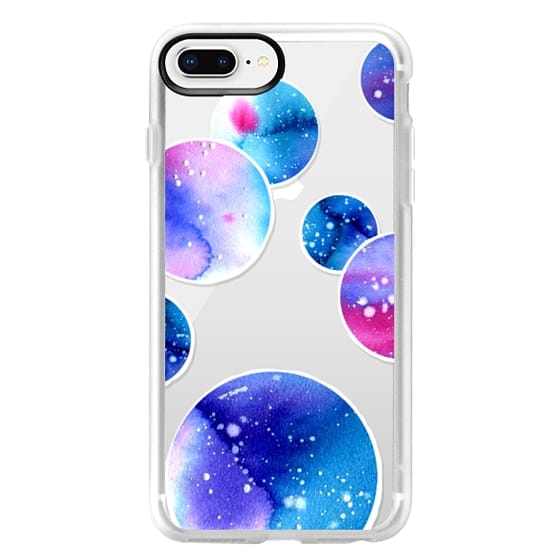 iPhone 8 Plus Cases - Watercolor space planets 3. Transparent.