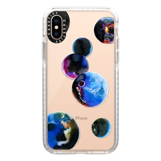 iPhone XS Cases - Watercolor space planets. Transparent