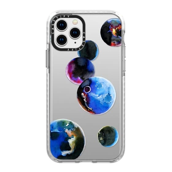 iPhone 11 Pro Cases - Watercolor space planets. Transparent