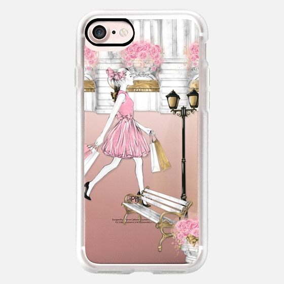 Fashion Wanderlust Shopping Girl Watercolor Transparent Paris Shop Pink Gold Pastel Architectural Girly Woman Illustration Shopping Therapy Beauty Blog -