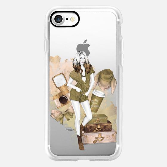 Travel Girl Fashion Illustration Trip Adventures Girly Pastel Peach Olive Greenery Pantone 2017 Photography Coffee -