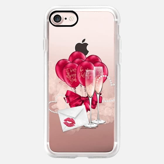 Champagne Valentine Transparent Watercolor Hot Pink Love Birds Romeo and Juliet Love Letters Be Mine Valentine It Was Always You I Love You -