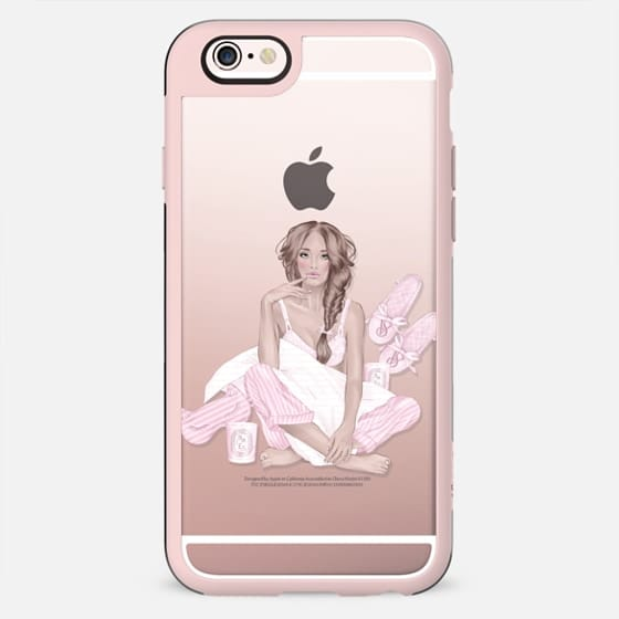 Casual Girl Transparent Fashion Illustration Pastel Pink Spa Relax Day Off Victoria Secret Pajama Party Holiday Sunday Morning - New Standard Case