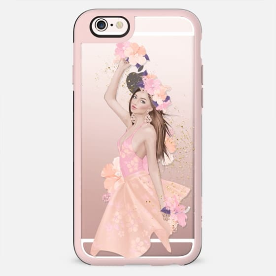 Summer Transparent Pastel Fashion Girl Illustration Hawaii Vacation Holiday Cute Hibiscus Flowers Cocktail Dancer Purple Peach Pink