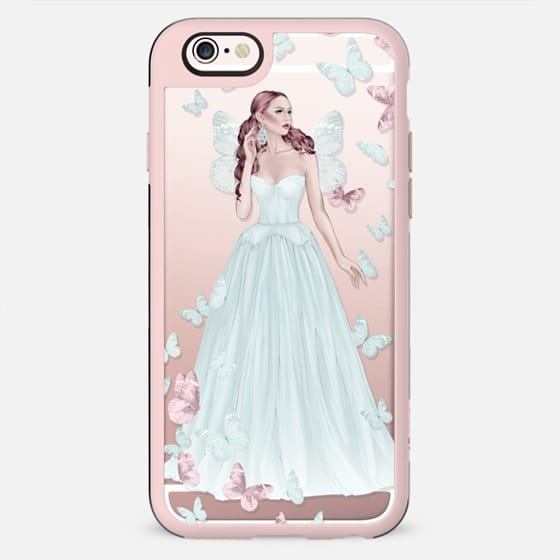 Fairy Fairytale Princess Fashion Illustration Girl Pastel Blue Pink Rose Gold Transparent Pattern Butterflies Butterfly Cinderella - New Standard Case