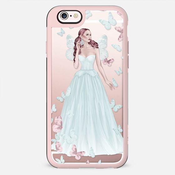 Fairy Fairytale Princess Fashion Illustration Girl Pastel Blue Pink Rose Gold Transparent Pattern Butterflies Butterfly Cinderella