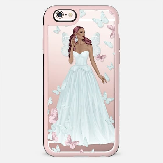 African American Fairy Fairytale Princess Fashion Illustration Girl Pastel Blue Pink Rose Gold Transparent Pattern Butterflies Butterfly Cinderella - New Standard Case
