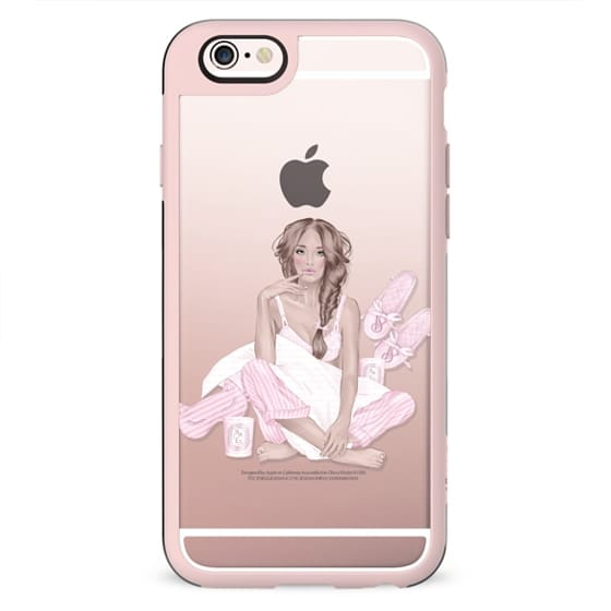 Casual Girl Transparent Fashion Illustration Pastel Pink Spa Relax Day Off Victoria Secret Pajama Party Holiday Sunday Morning