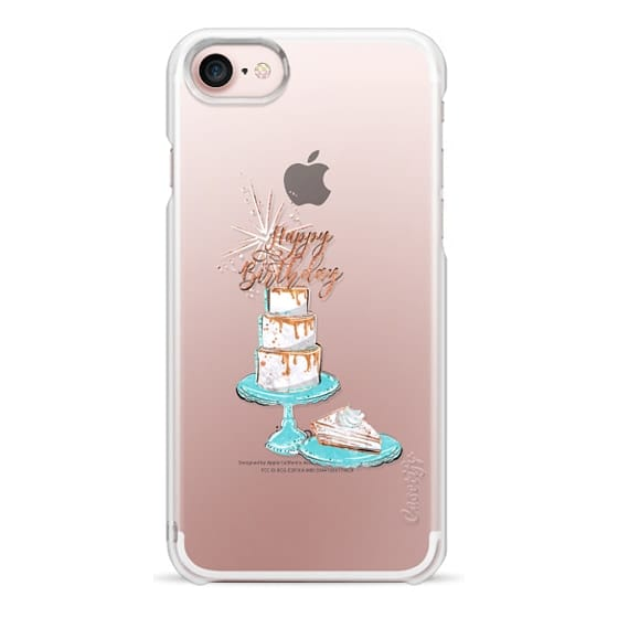 iPhone 7 Plus Cases - Happy Birthday Glam African American Fashion Girl Transparent Glitter Cake Balloons Champagne Glass Gift Rose Gold Mint