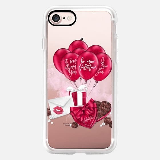 Valentine Romantic Couple Valentines Chocolates Box Balloon Gift Box Love Letter Transparent Watercolor Pink Red Seasonal