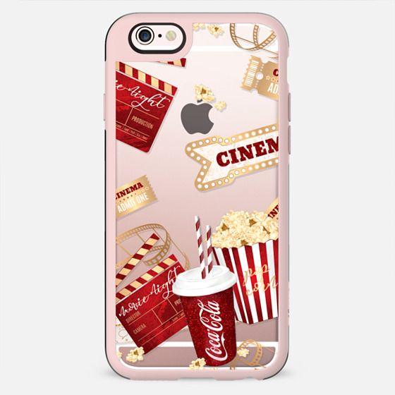 Movie Night Transparent Cinema Popcorns Coca Cola Red Gold Glitter Pattern African American - New Standard Case