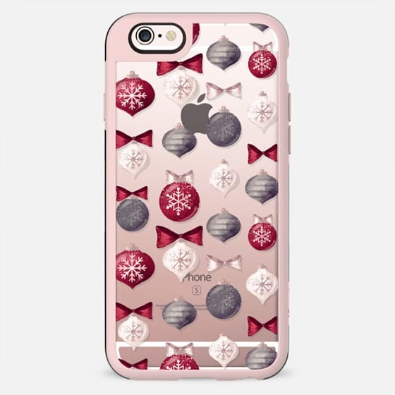 Christmas Transparent Floral Xmas New Year Pattern Retro Vintage - New Standard Case